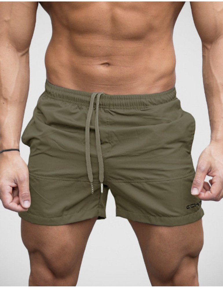 Men Breathable Swimming Shorts Solid Color Elastic Waist Beach Shorts Summer Board Shorts