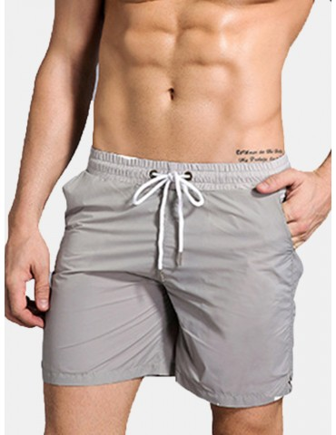 Fitness Sport Quickly Dry Mesh Lining Double PocketDrawstring Board Short for Men