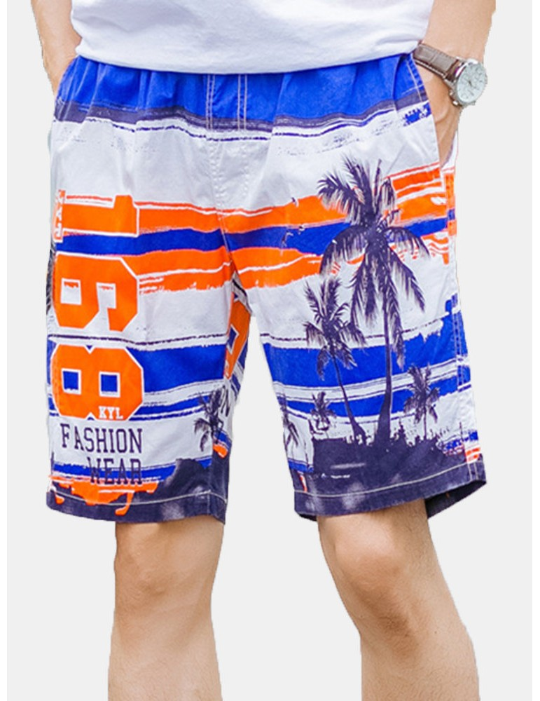 Coconut Tree Printing Tropical Loose Drawstring Board Shorts for Men