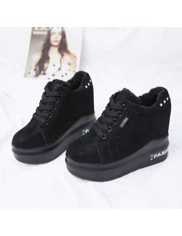 Women's Wedge Pumps Thick Sole Lacing Casual Shoes