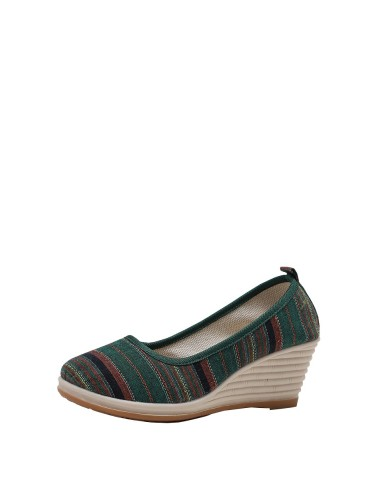 Women's Wedge Pumps Striped Ethnic Comfy Stylish Wedge Pumps