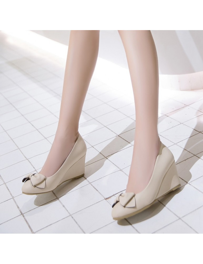 Women's Wedge Pumps Sweet Bowknot Round Toe Shoes