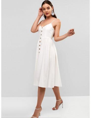 Cami Woven Midi Dress - Milk White S
