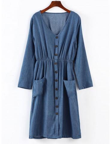 Long Sleeve Midi Chambary Dress - Blue S