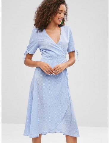 Plunge Midi Polka Dot Wrap Dress - Cornflower Blue M