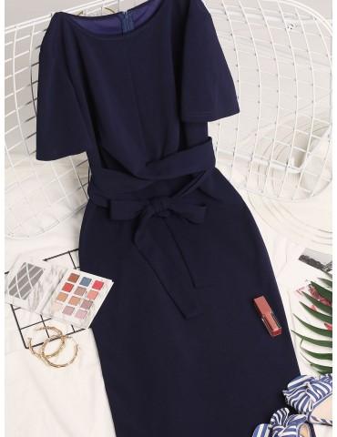 Twist-front Pencil Dress - Cadetblue M