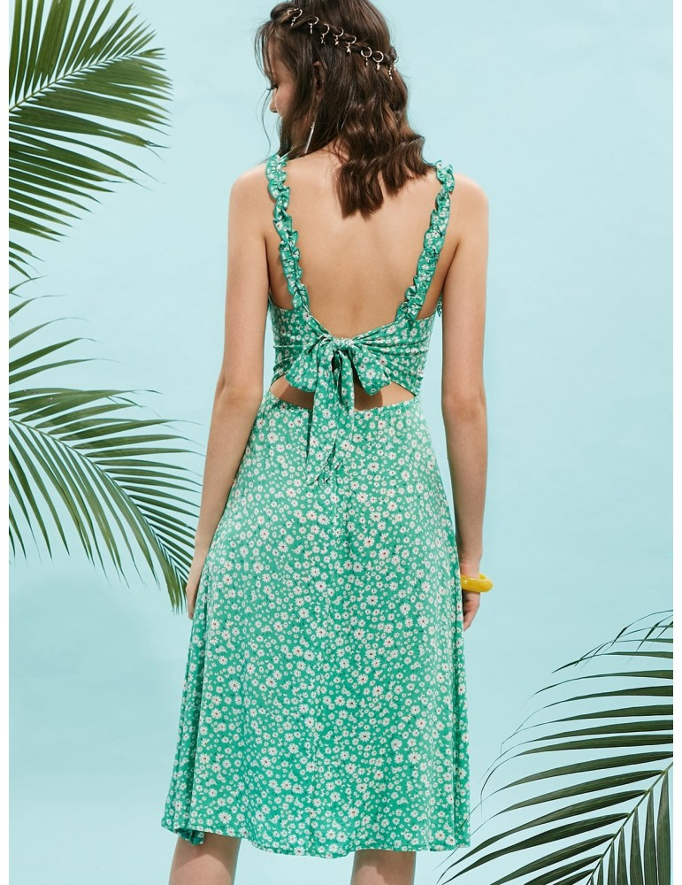Knotted Back Ruffles Floral Print Dress - Green M