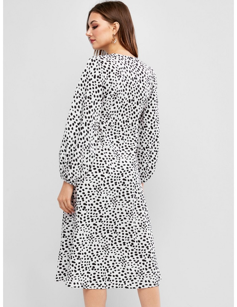 Button Loop Dalmatian Dot Long Sleeve Dress - Multi M