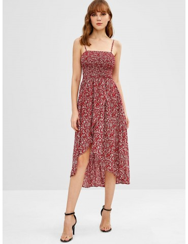 Smocked Tiny Floral Asymmetric Cami Dress - Red Wine S