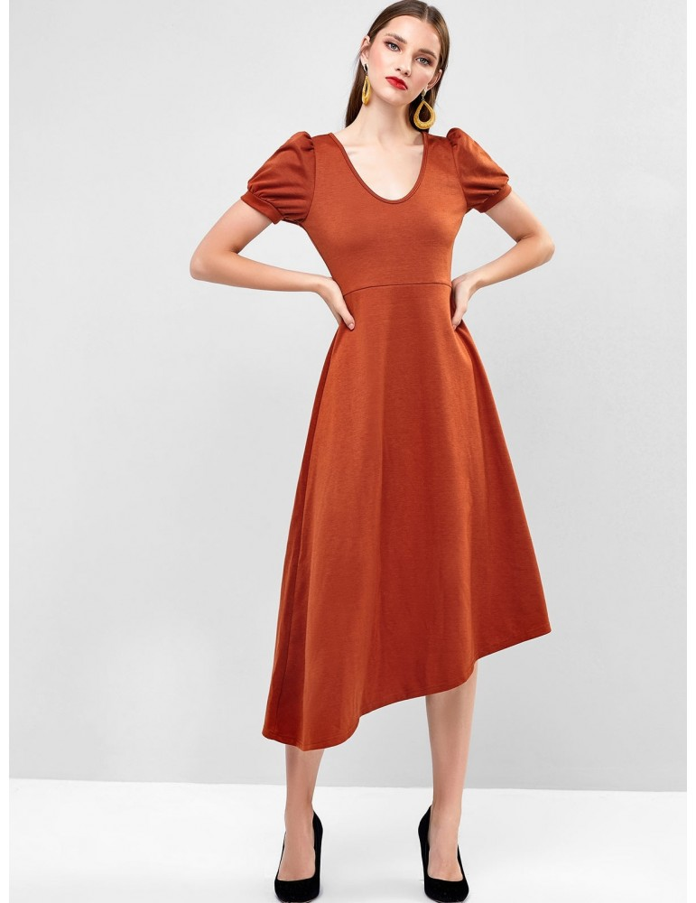 Asymmetric Puff Sleeve Midi Dress - Light Brown S