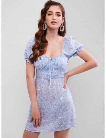 Ditsy Print Ruffle Cuffs Sweetheart Dress - Blue Koi S