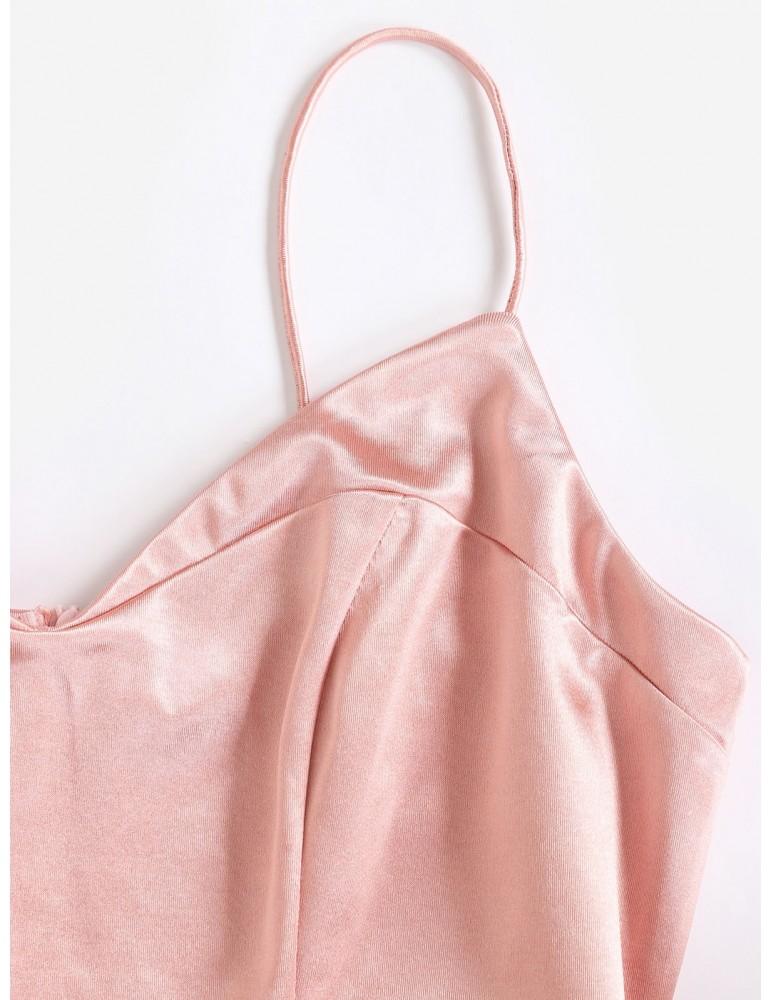 Overlap Asymmetric Mini Satin Cami Dress - Rose S