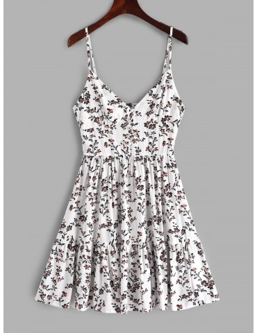 Buttons Floral Print A Line Cami Dress - White S