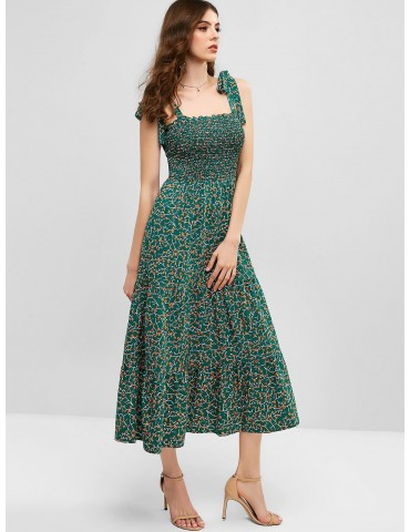 Ditsy Floral Tie Shoulder Smocked Midi Dress - Greenish Blue M