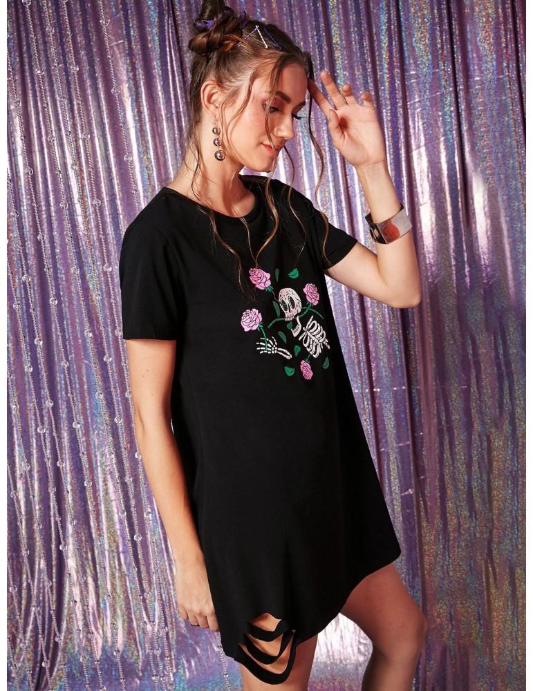 Floral Skeleton Ripped Tee Dress - Black L