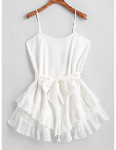 Ruffles Belted Cami Mini Dress - White S
