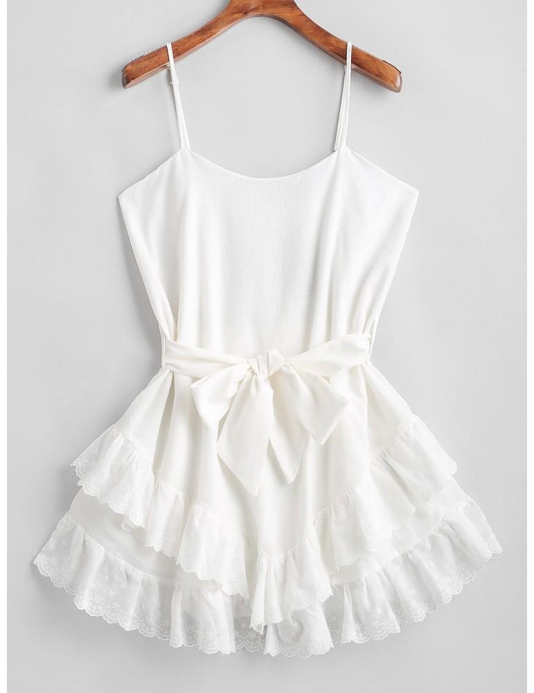 Ruffles Belted Cami Mini Dress - White S