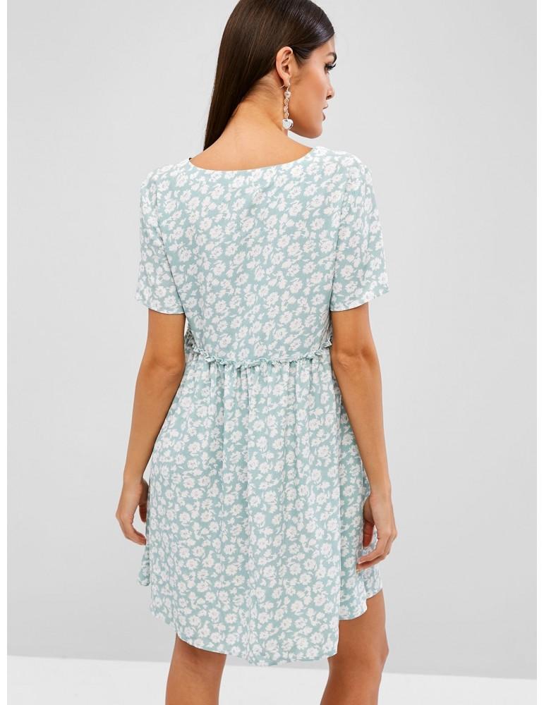 Floral Print Lace Up A Line Dress - Turquoise M