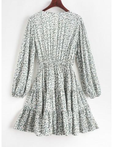 Ditsy Print Flippy Hem Plunging Dress - Cyan Opaque S
