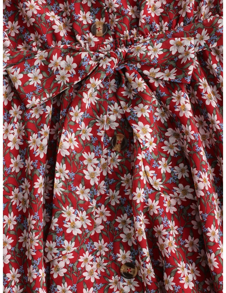 Belted Buttoned Off Shoulder Floral Dress - Chestnut Red S