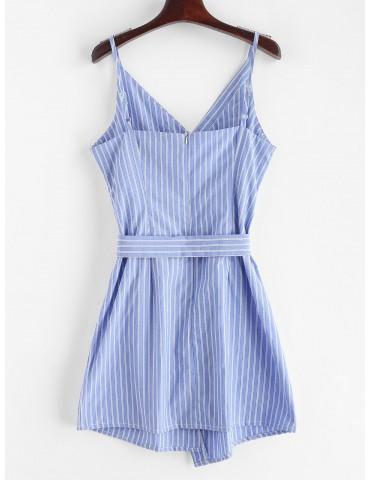 Buttoned Stripes Cami Dress - Blue Koi M
