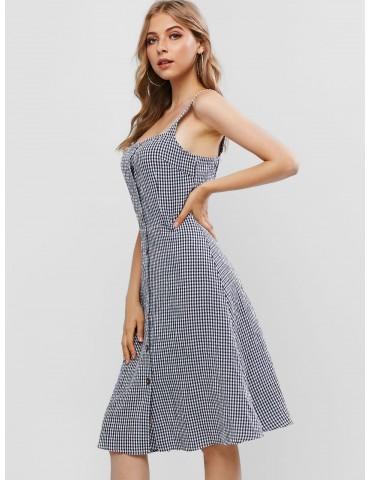 Button Up Gingham Square Neck A Line Dress - Deep Blue Xl