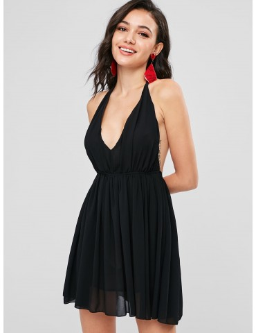 Halter Chiffon Mini Sun Party Dress - Black L