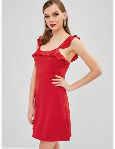 Ruffles Sleeveless A Line Dress - Ruby Red Xl