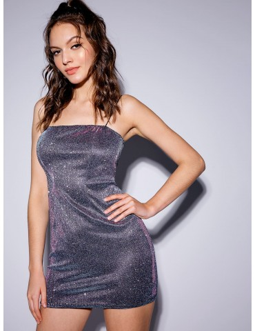 Party Shiny Cami Mini Dress - Silver M