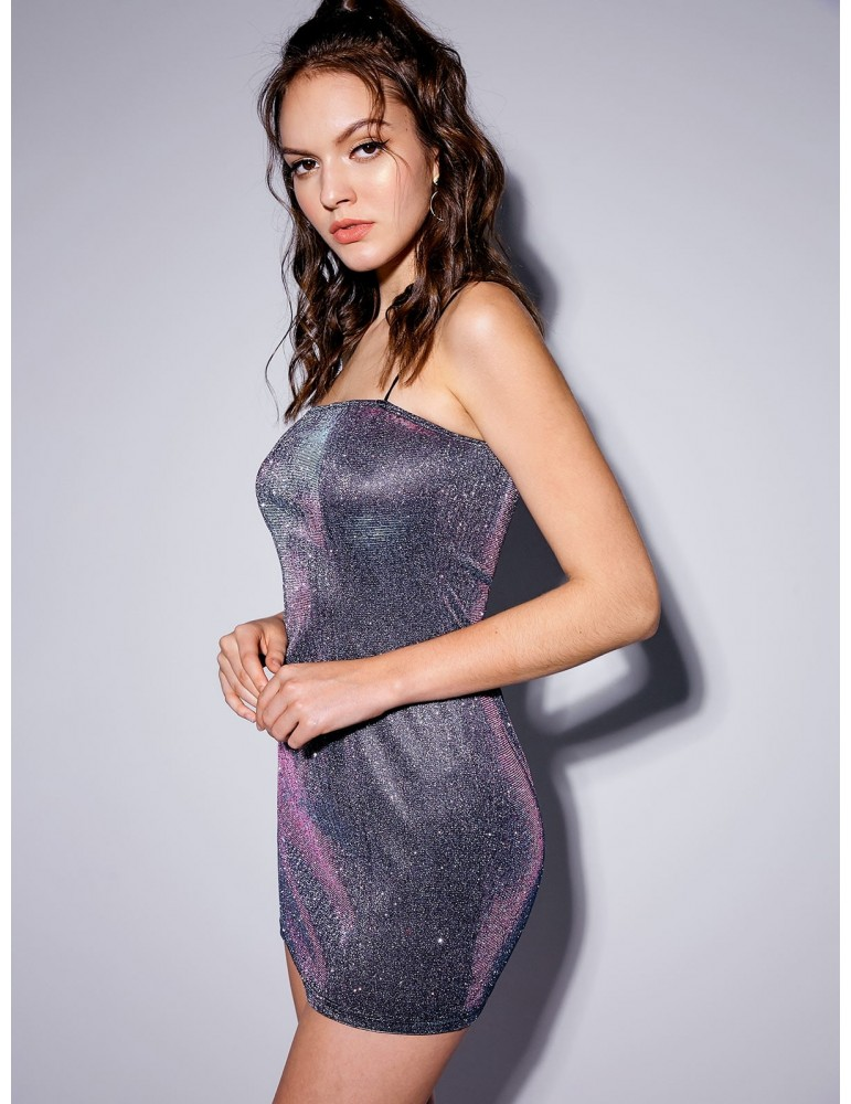 Party Shiny Cami Mini Dress - Silver M