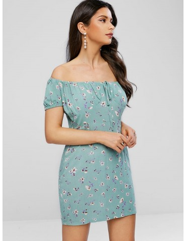 Off Shoulder Bowknot Floral Print Dress - Dark Sea Green L