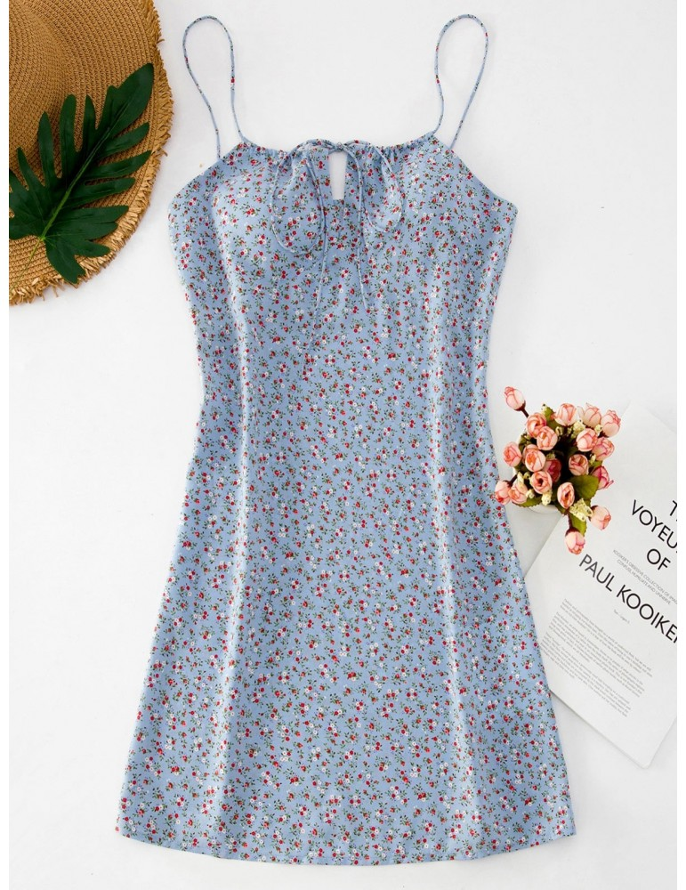 Ditsy Floral Short Cami Summer Dress - Baby Blue S