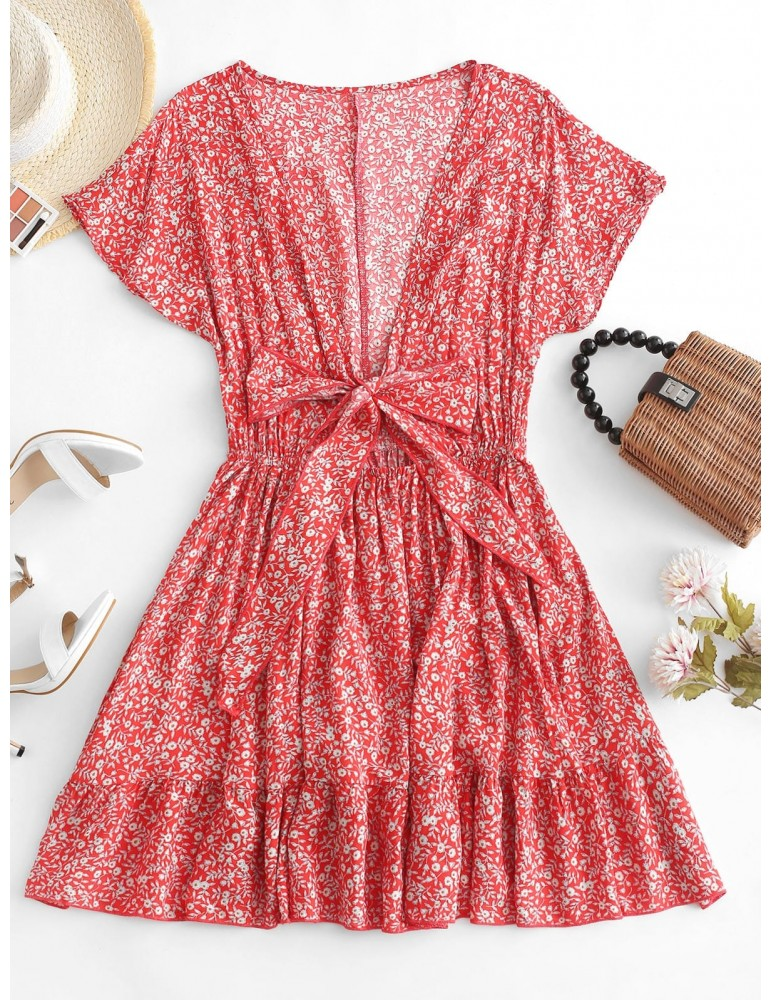 Floral Tie Front Mini Dress - Red S