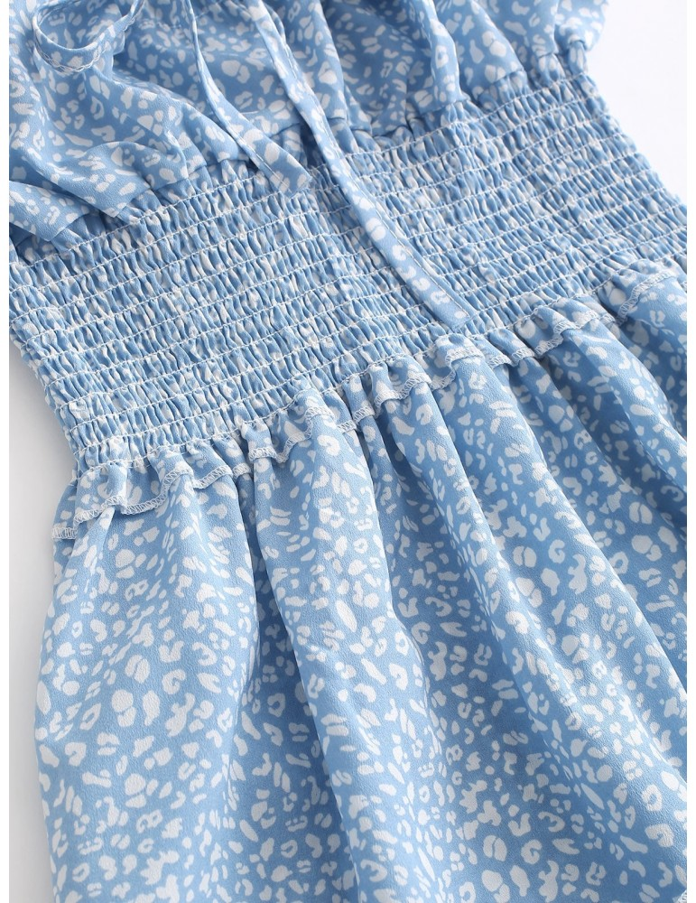 Smocked Printed Sleeveless A Line Dress - Light Blue S