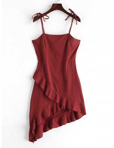 Ruffles Asymmetric Tie Straps Solid Dress - Red Wine M