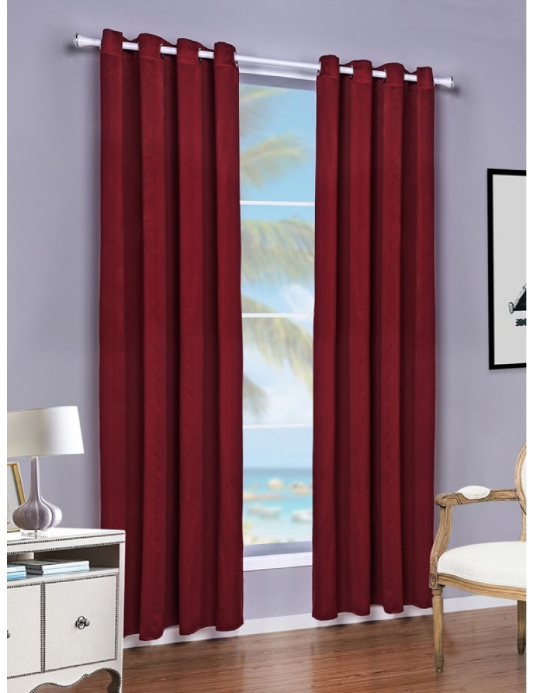 A Panel Solid Maroon Polyester Made Blackout Curtain
